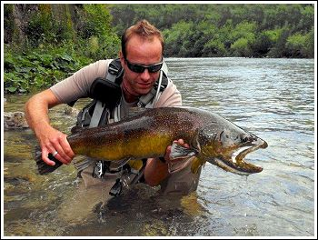 Roc Lustrik with Marble Trout at Soca river